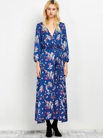 Wrap Front Maxi Floral Dress - BLUE M Mobile