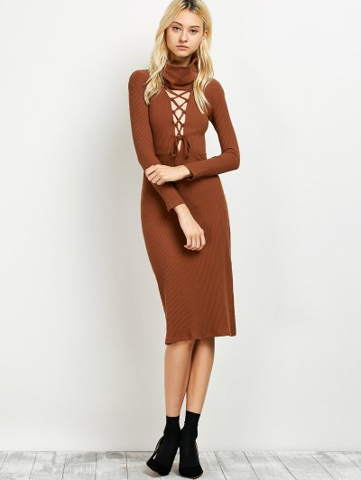 Turtleneck Ribbed Knit Midi Dress - BROWN ONE SIZE Mobile