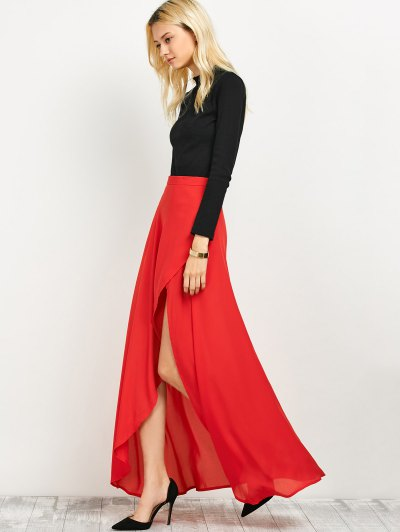 High Low Hem Long Skirt - RED 2XL Mobile