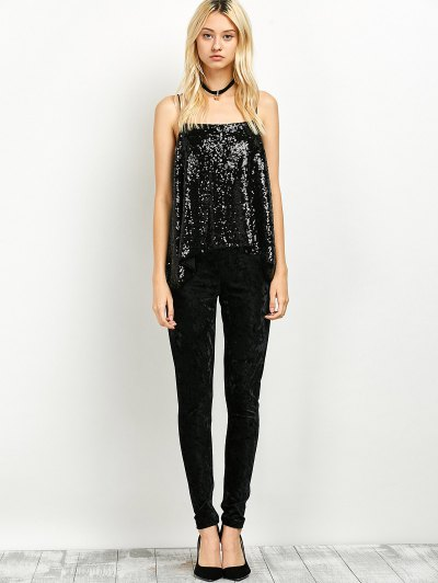 Loose Sequined Tank Top - BLACK S Mobile