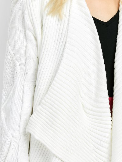 Draped Basket Weave Cable Cardigan - WHITE 2XL Mobile