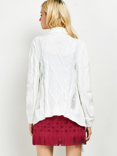 Draped Basket Weave Cable Cardigan - WHITE M Mobile