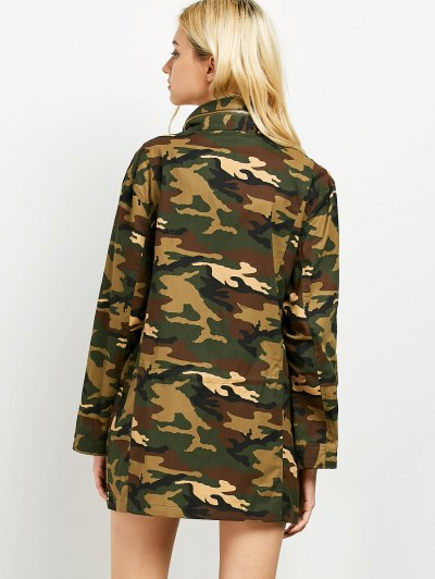 Buttoned Camouflage Jacket - ARMY GREEN L Mobile