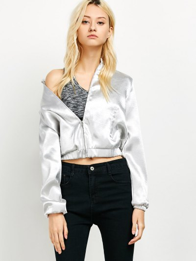 Metallic Color Cropped Bomber Jacket - SILVER XL Mobile