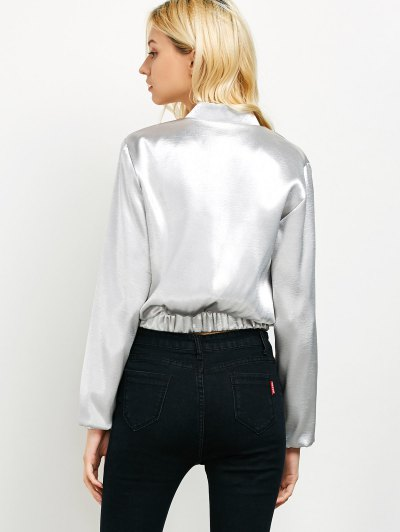 Metallic Color Cropped Bomber Jacket - SILVER M Mobile