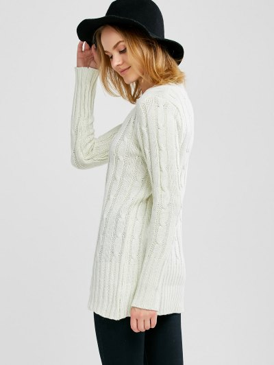 V Neck Cable Knit JUmper - WHITE ONE SIZE Mobile