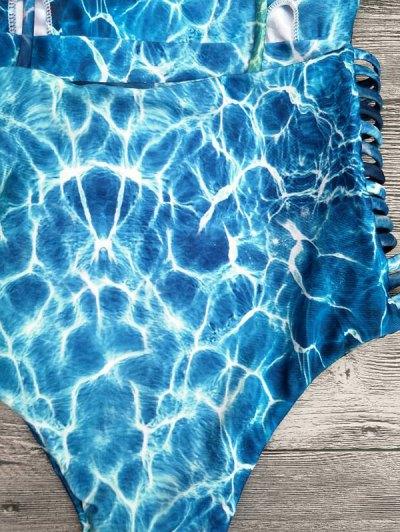 Tie-Dyed Print One-Piece High Leg Swimwear - LAKE BLUE L Mobile