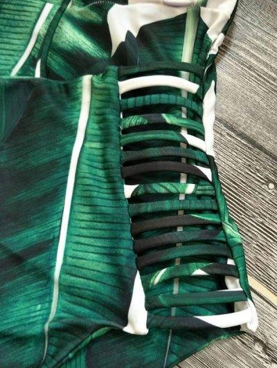 Cut Out Palm Tree One-Piece Swimwear - GREEN XL Mobile