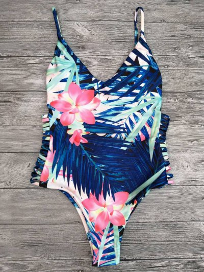Cut Out Tropical Print One-Piece Swimwear - BLUE L Mobile
