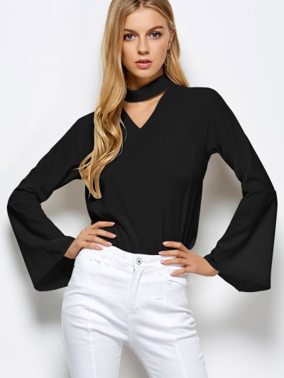 Loose Choker Flare Sleeve Blouse - BLACK L Mobile