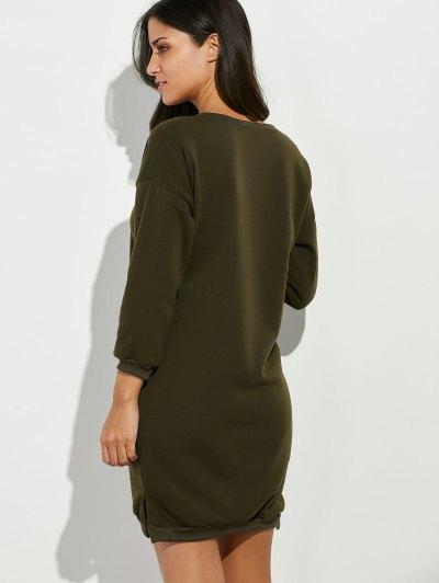 Rhinestone Cartoon Cat Patch Sweatshirt Dress - ARMY GREEN ONE SIZE Mobile