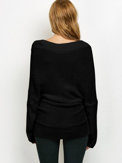 Wrap Front Sweater - BLACK ONE SIZE Mobile
