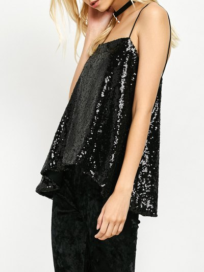 Loose Sequined Tank Top - BLACK M Mobile