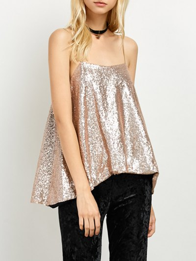 Loose Sequined Tank Top - GOLDEN S Mobile