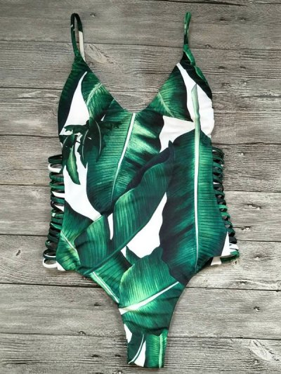 Cut Out Palm Tree One-Piece Swimwear - GREEN S Mobile