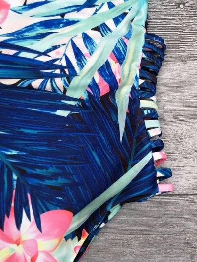 Cut Out Tropical Print One-Piece Swimwear - BLUE M Mobile