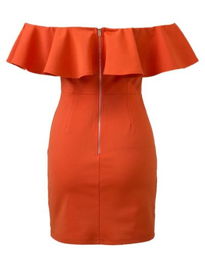 Off The Shoulder Ruffles Bodycon Dress - ORANGE RED L Mobile