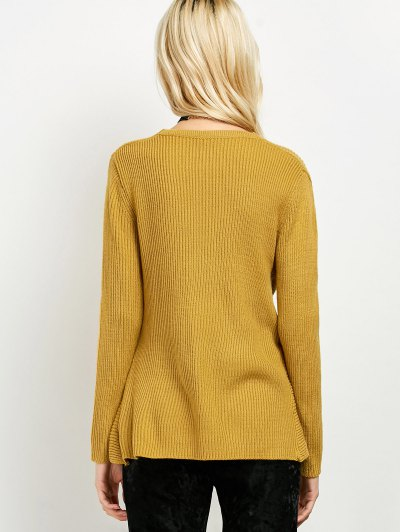 Wrap Ribbed Sweater - YELLOW ONE SIZE Mobile