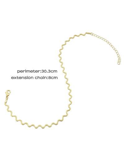 Alloy Wavy Choker Necklace - GOLDEN  Mobile