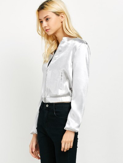 Metallic Color Cropped Bomber Jacket - SILVER L Mobile