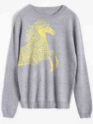 Horse Jacquard Pullover Sweater - Gray