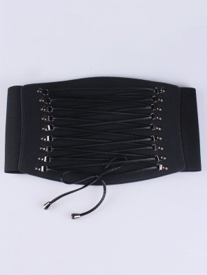 Criss Cross Elastic Corset Belt - Black