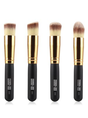 4 Pcs Foundation Brushes - Black