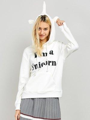 I Am A Unicorn Graphic Hoodie - White