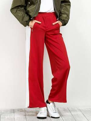 Side Band Wide Leg Pants - Red