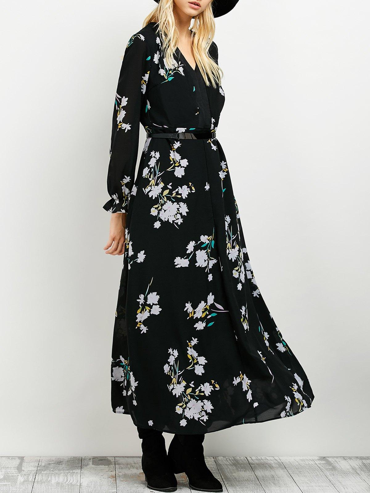 Floral Print Flowing Maxi Dress