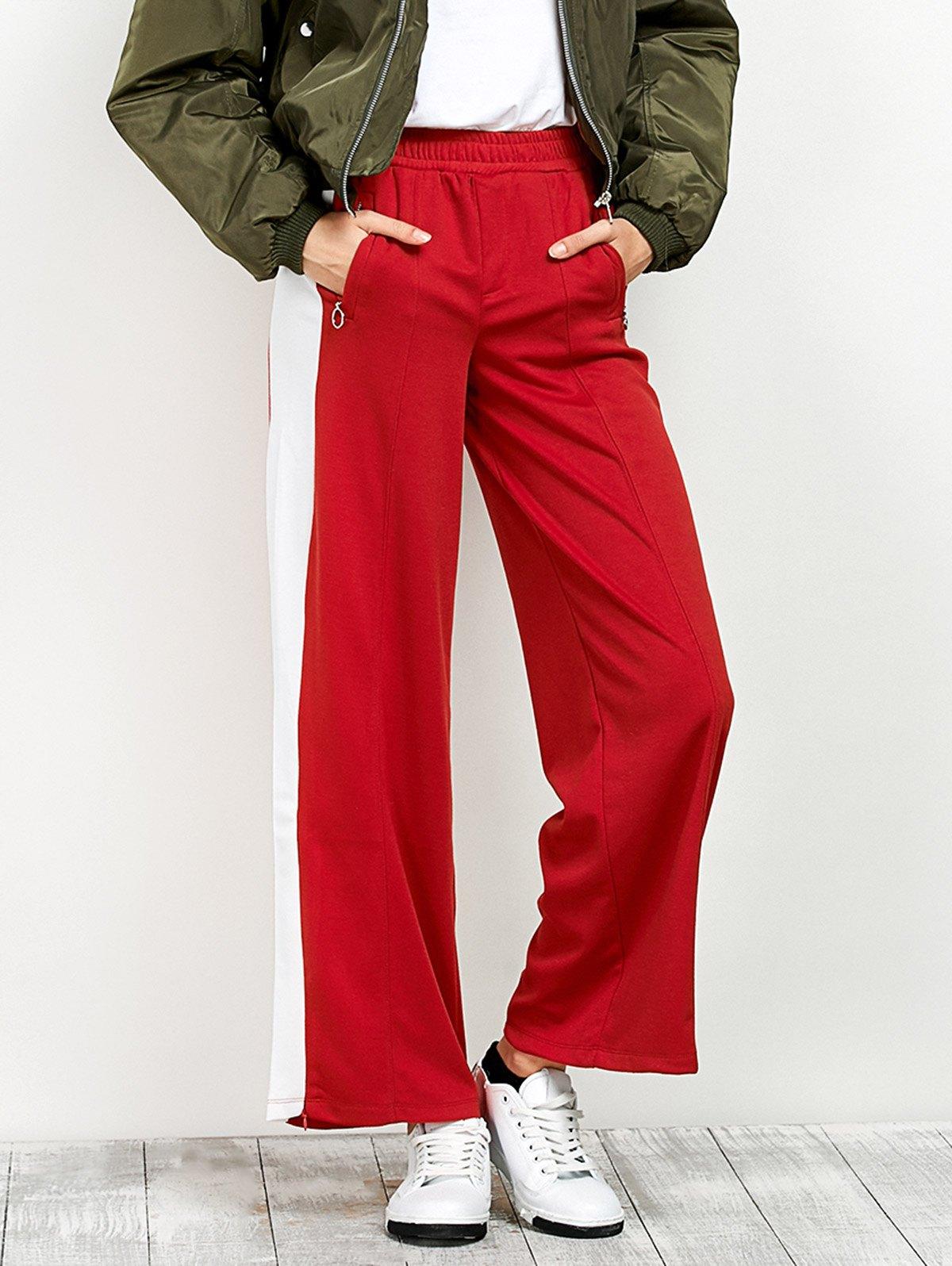 Side Stripe Wide Leg Casual Pants