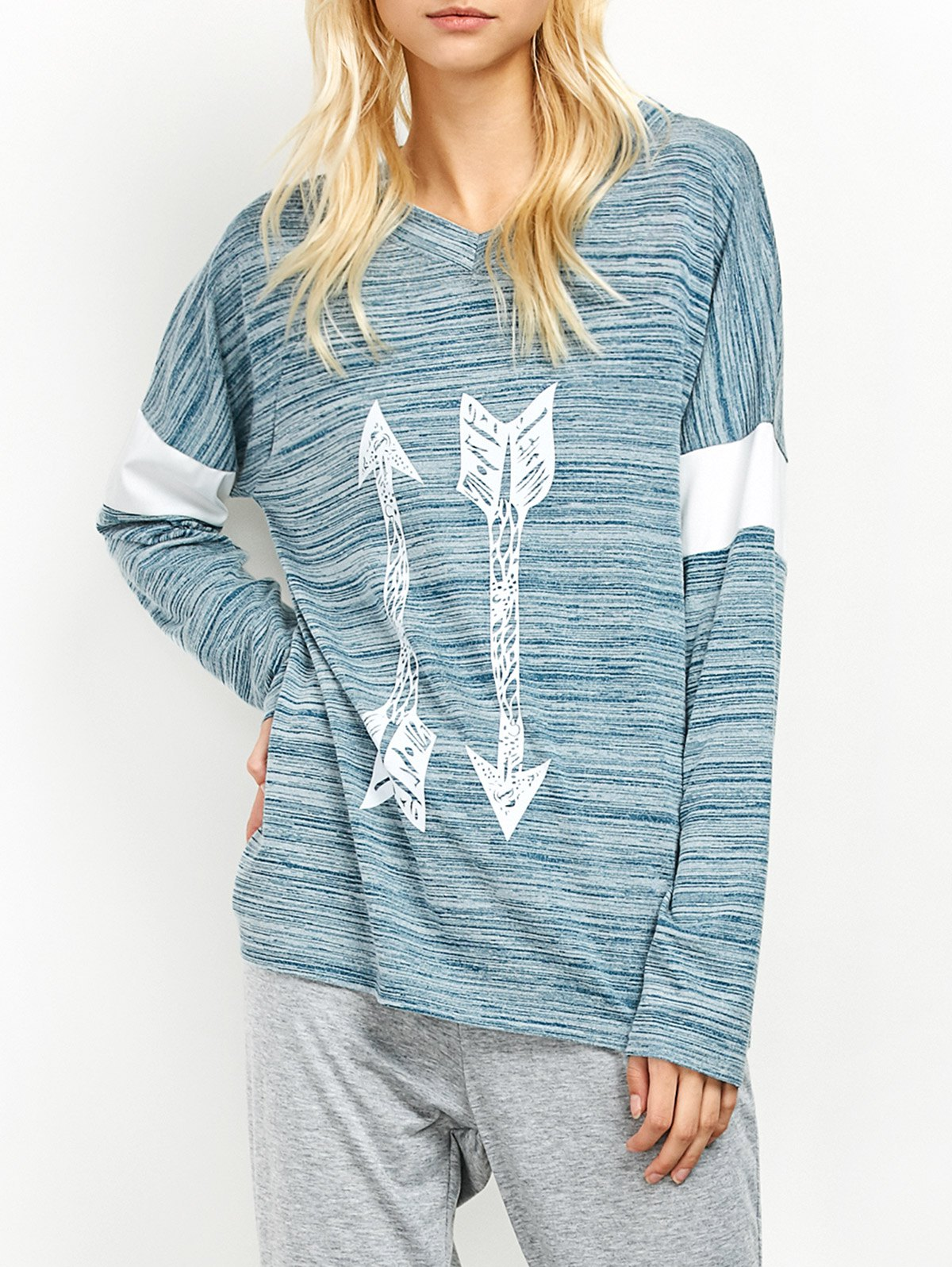 Space Dyed Arrow Pattern V Neck T-ShirtClothes<br><br><br>Size: S<br>Color: LIGHT BLUE