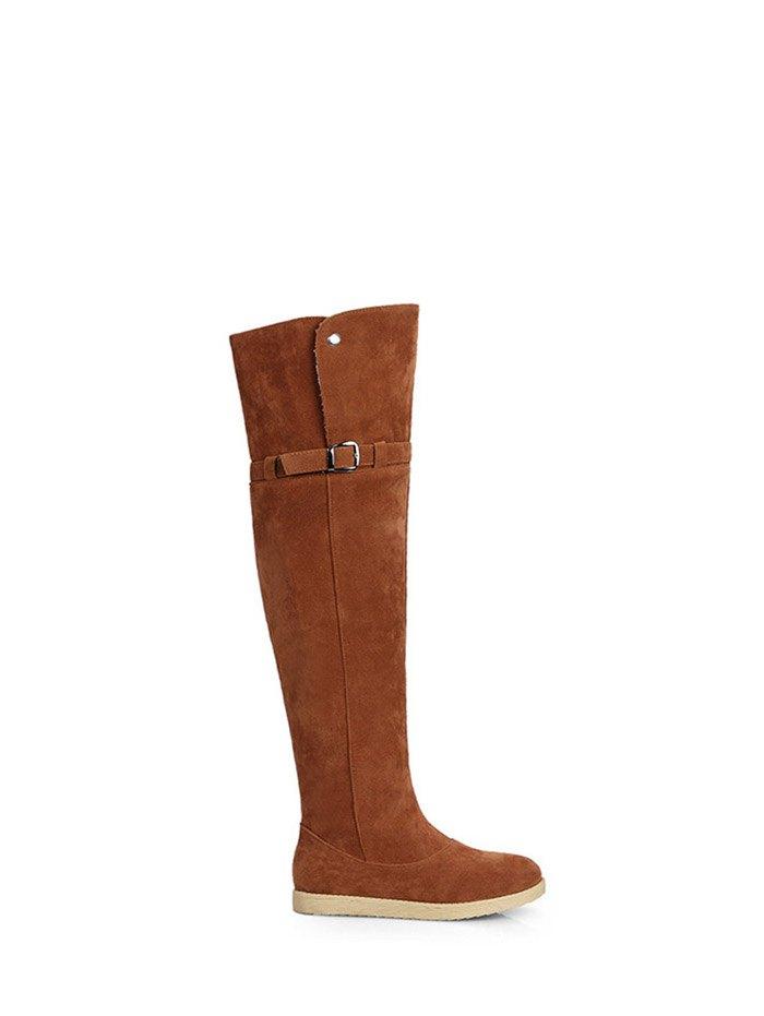 Flat Heel Thigh High Boots