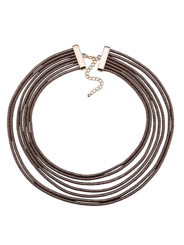 Artificial Leather Rope Layered Choker Necklace