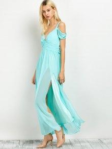 Cold Shoulder Slit Maxi Prom Dress LIGHT GREEN: Maxi Dresses  ZAFUL