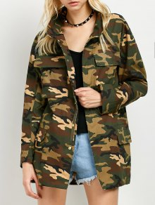 Buttoned Camouflage Jacket - Army Green