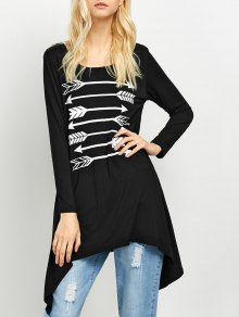 Long Sleeve Arrow Print Tee