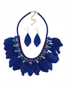 Buy Artificial Gemstone Feather Necklace Earrings BLUE