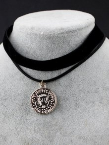 Animal Coin Velvet Choker