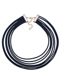 Buy Artificial Leather Rope Layered Choker Necklace BLUE