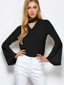Loose Choker Flare Sleeve Blouse - Black