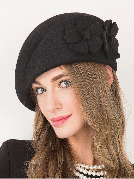 Flower Applique Wool French Beret -   Mobile