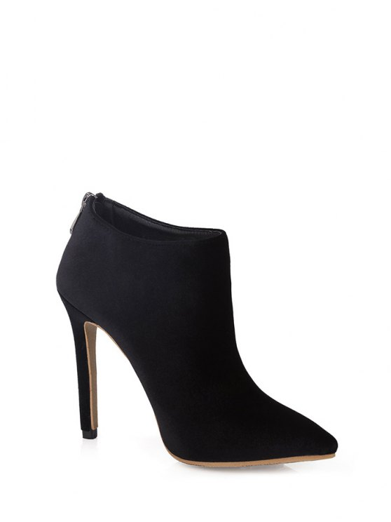 Stiletto Heel Zipper Pointed Toe Ankle Boots - BLACK 37 Mobile