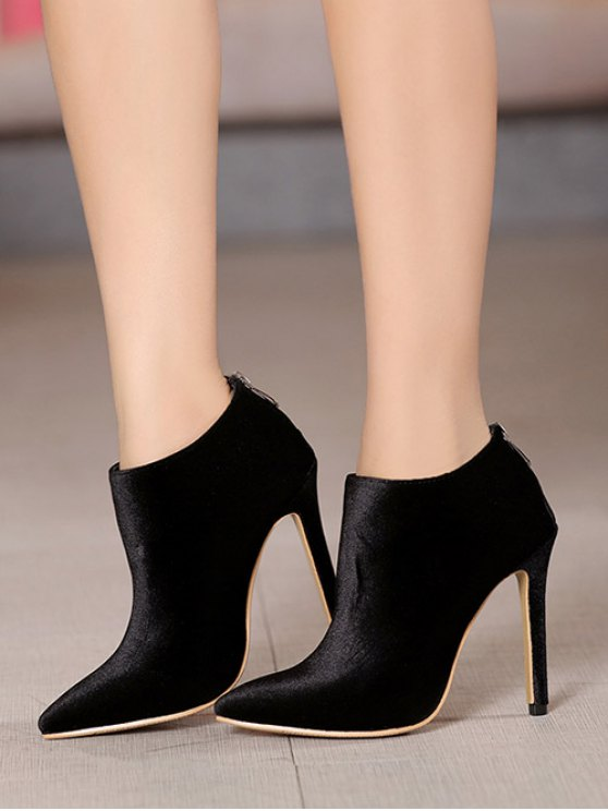 Stiletto Heel Zipper Pointed Toe Ankle Boots - BLACK 38 Mobile