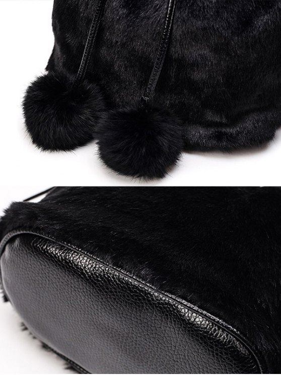 Pompon Tassel Furry Bucket Bag - BLACK  Mobile