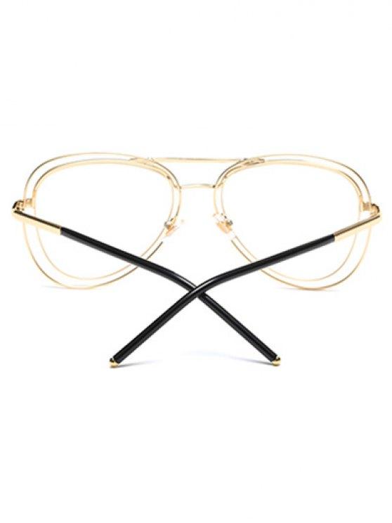 Double Rims Transparent Lens Pilot Sunglasses - GOLDEN  Mobile