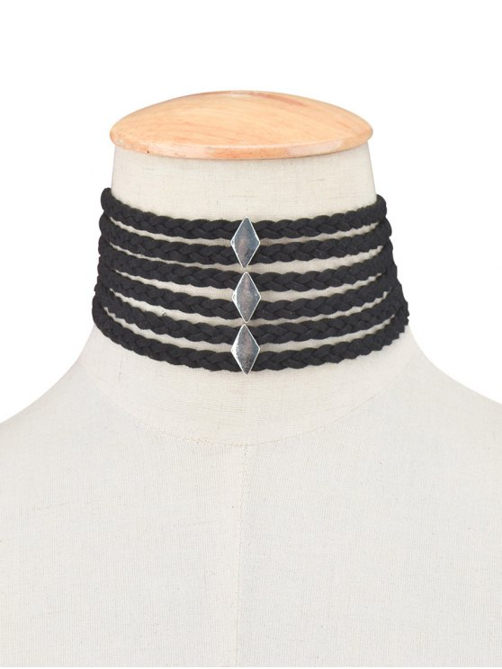 Braid Rope Choker Necklace - BLACK  Mobile