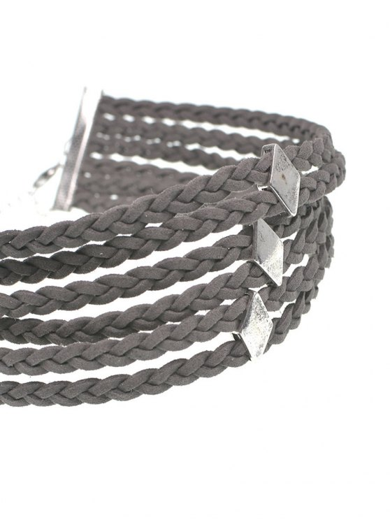 Braid Rope Choker Necklace - GRAY  Mobile