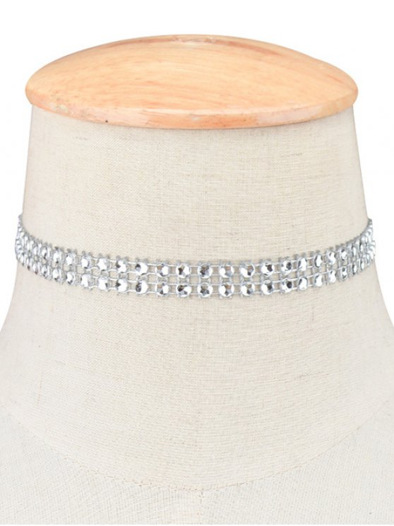 Tiered Plastic Beaded Choker - SILVER  Mobile