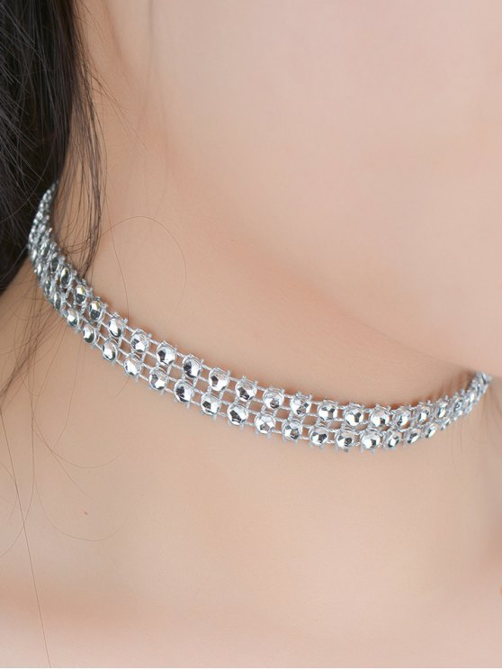 womens Tiered Plastic Beaded Choker - SILVER